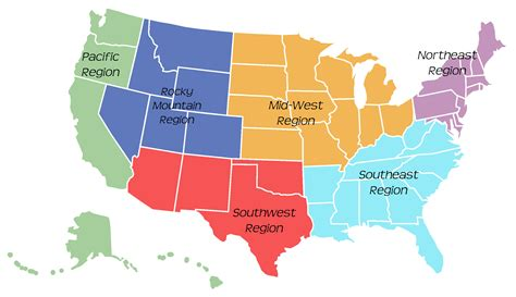 map of us states by region us map 6 regions