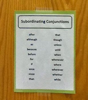 subordinating conjunctions list poster  rudies