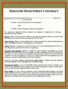 Simple Investment Contract Free Word Templates Simple Investment Contract Template