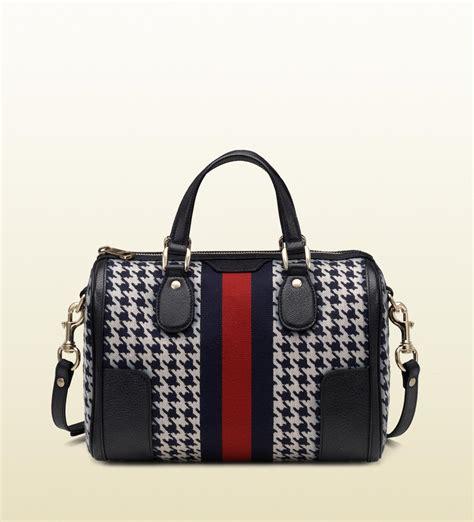 Gucci Boston Bag by Gucci Seventies Web Pied De Poule Fabric Boston Bag In