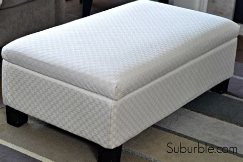 how to cover a ottoman the no sew way to recover an ottoman suburble