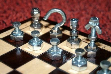 diy chess set 7 unique nut and bolt chess sets recycling hardware waste