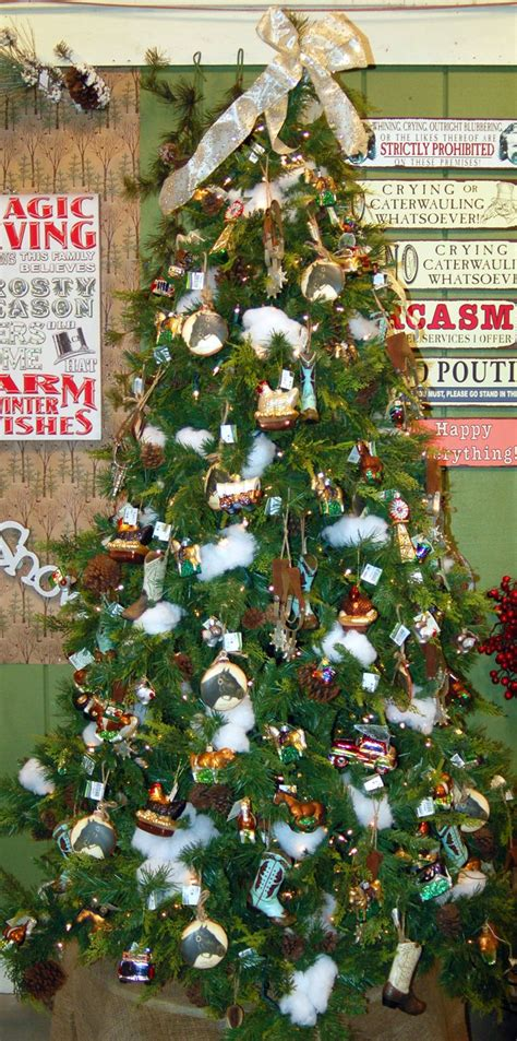 farmers weekly xmas theme western farm theme tree filled with cowboy boots farm animals and decorations