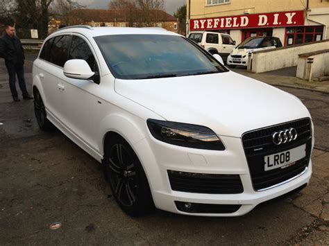 white wrapped cars car wrapping vehicle wrap branding audi q7