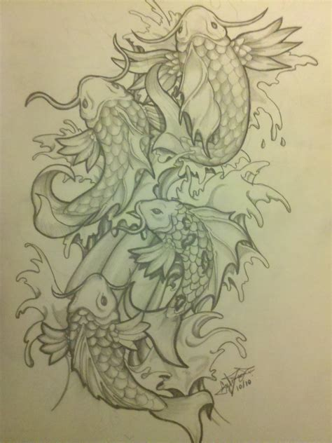 tattoo koi drawing piercedfish blog koi fish