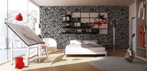 bedroom art studio black white red bedroom art studio interior design ideas