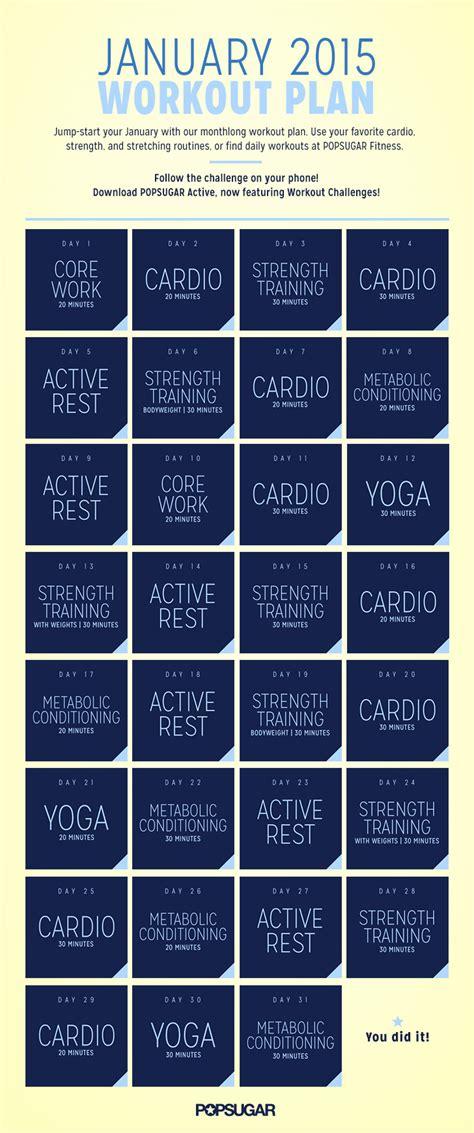 popsugar printable meal planner january workout plan popsugar fitness