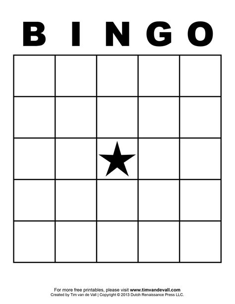 Bingo Template tim de vall comics printables for