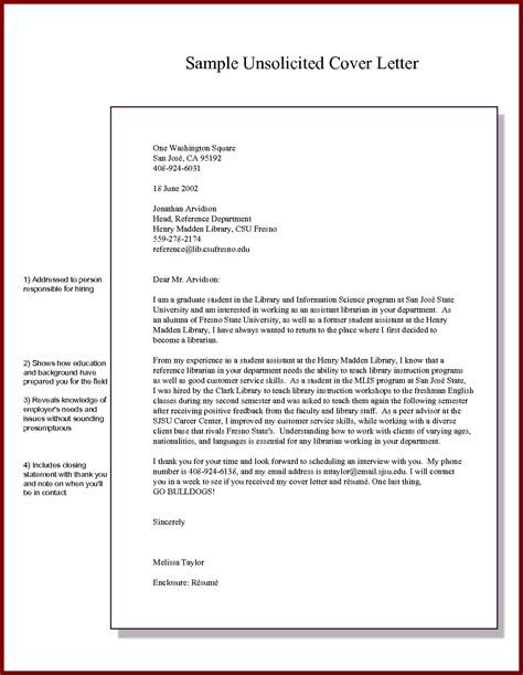 sle unsolicited cover letter the best letter sle