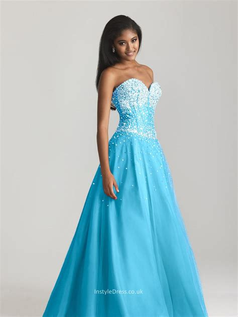 strapless beaded prom dress blue tulle beaded sweetheart strapless gown floor