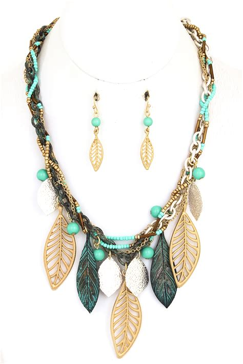 braided seed bead leaf necklace set necklaces