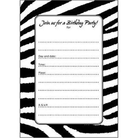 free printable birthday invitations black and white 10 birthday party invitations fill ins bpfi 026 zebra