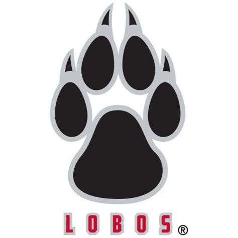 logo university of new mexico lobos paw print over lobos