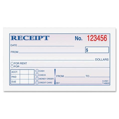 Money Rent Receipt Template by Printer
