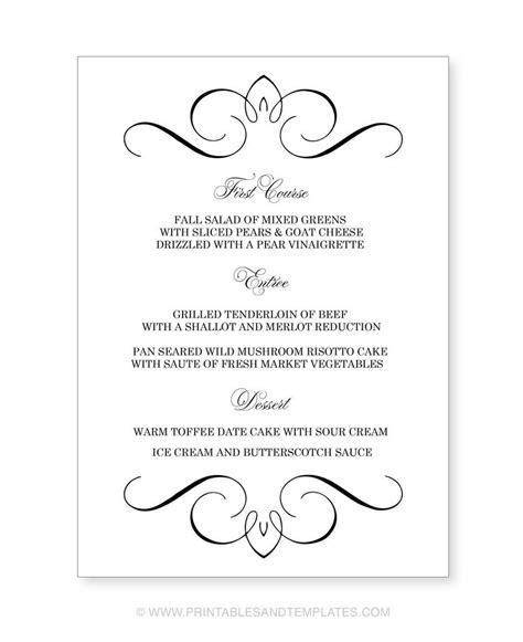free printable menu templates for wedding free printable wedding menu templates