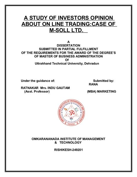 Mahindra Finance Letterhead A Study Of Investors Opinion About On Line Tradingcase Of M Soll Ltd