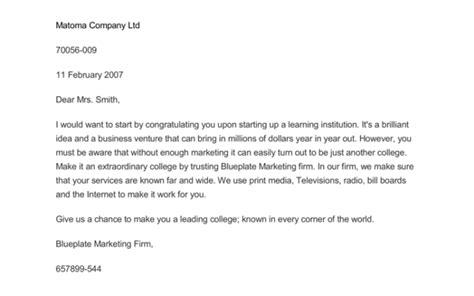 marketing letter templates samples word