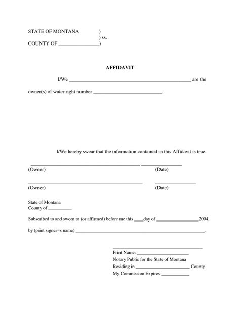 commercial affidavit of template printable affidavit form template exle with blank