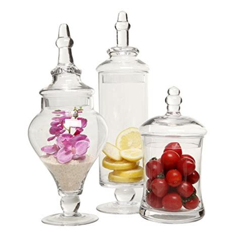 Clear Plastic Kitchen Canisters designer clear glass apothecary jars 3 piece set