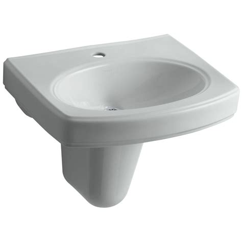 Kohler Pinoir Wall Mounted Vitreous China Bathroom Sink In Draining Kitchen Sink
