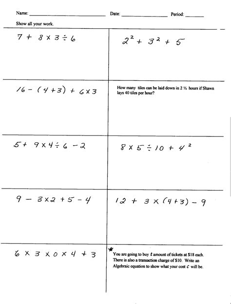 Pemdas Worksheet by Math Worksheets For 5th Grade Order Of Operations Order