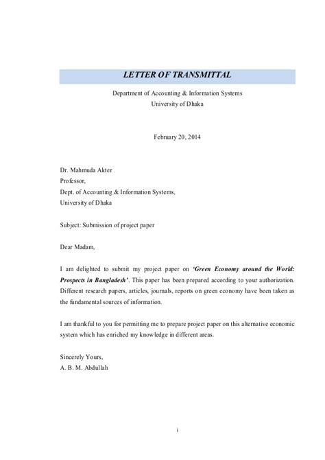 Sle Transmittal Letter Project Green Economy Around The World Advancement Challenges In Bangladesh