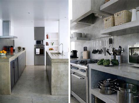 piano cucina in cemento cemento a vista negli interni idee costruzione