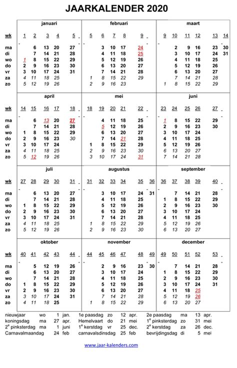 kalender jaarkalender met weeknummers en maanden feestdagen koningsdag uitprinten word