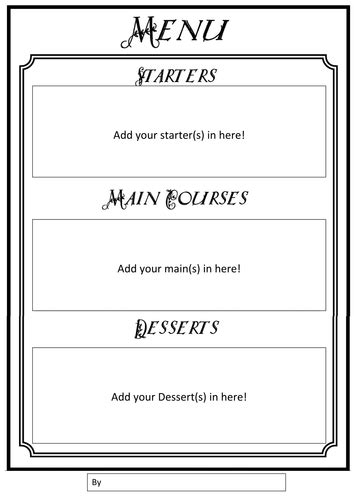 menu writing frames by gill2307 teaching resources tes