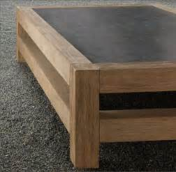 Wooden coffee table with concrete tabletop 2 decoist
