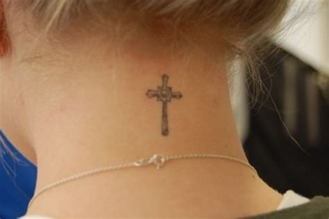 cross on neck tattoo 49 impressive religious neck tattoos