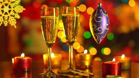 year celebration  glass cups  champagne decorations candles  color hd wallpaper