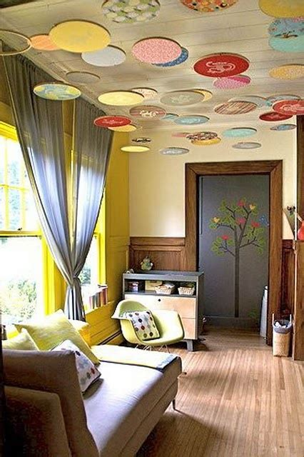 Decorate Ceiling With Fabric by Fabric Dots On The Ceiling Home Decor