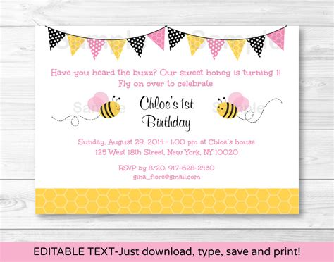 printable editable birthday cards pink bumble bee printable birthday invitation editable pdf