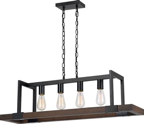 Kenroy Chandelier Cal Fx 3586 4 Antonio Modern Wood Dark Bronze Island Light