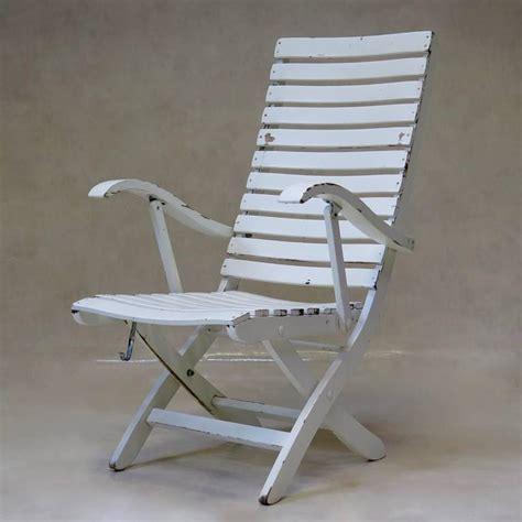 set   folding wooden deck chairs france circa   sale  stdibs