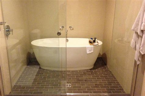 hotel bathtub tub in the shower no grab bars though picture of