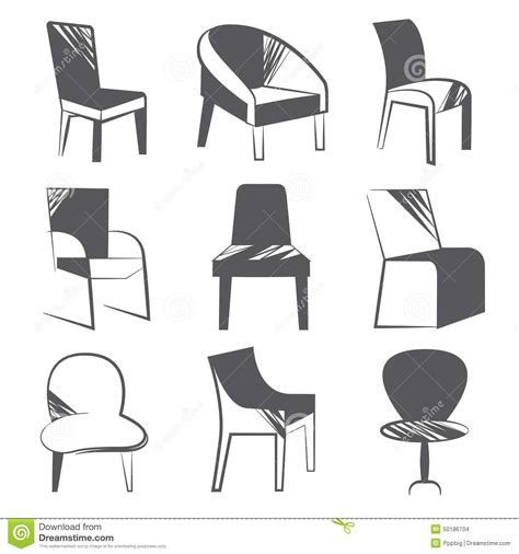 Sketch Chair Icons Set Sofa by Sketch Chair Icons Stock Illustration Image 50186704