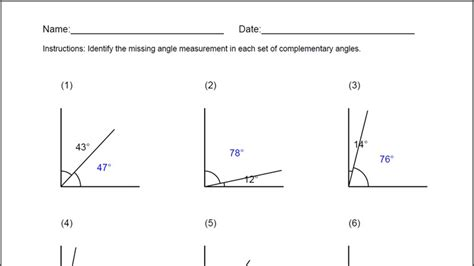 printable math worksheets supplementary angles complementary angles worksheet lesupercoin printables