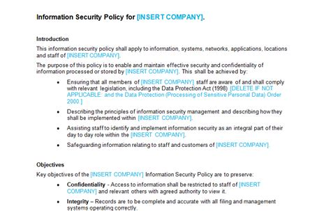 data security policy template information security policy template bizorb