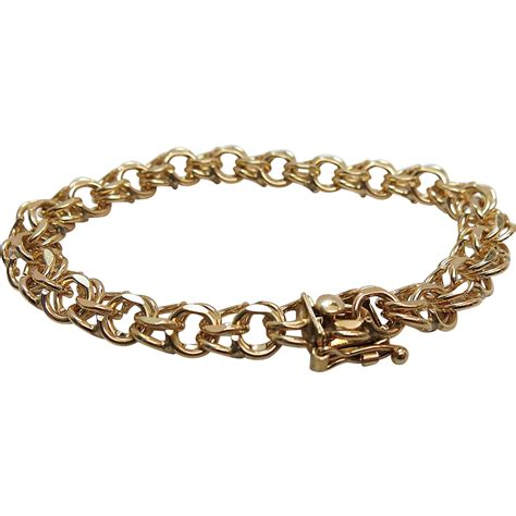 1960 s vintage heavy 14k yellow gold curb link