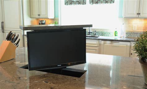 Tv In Kitchen by Kitchen Island Tv Lift Traditional Kitchen Nashville