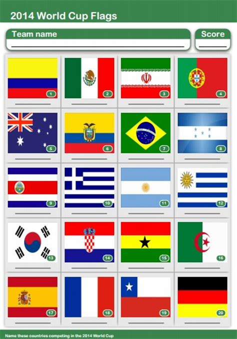 printable flags of the world cup 2014 world cup quiz