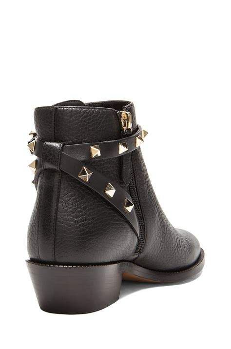 Rockstud Trim Leather Booties valentino rockstud leather ankle boots t 35 in black lyst