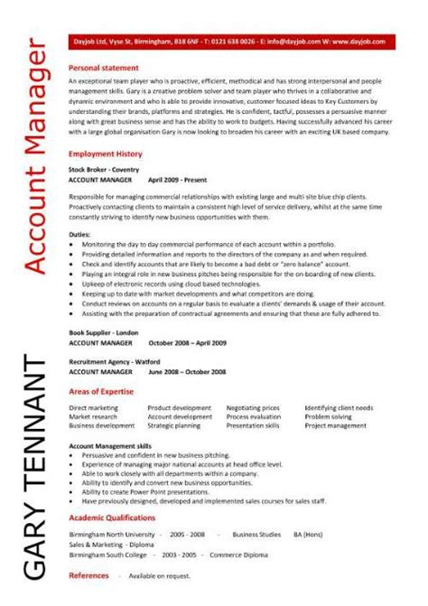 Resume Objective Key Account Manager Account Manager Cv Template Sle Description
