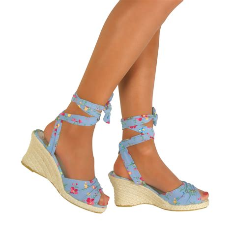 Sandal Wedges Rm01 Hitsm 2 new womens lace up wedge low heel ankle sandals shoes size uk 3 8 ebay