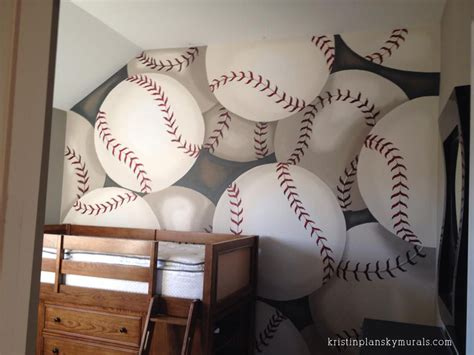 baseball bedroom wallpaper kristin plansky murals boys baseball bedroom
