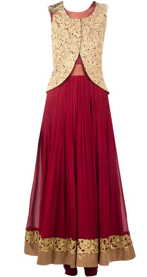 dress design with jacket maroon anarkali with gold jacket available only at pernia