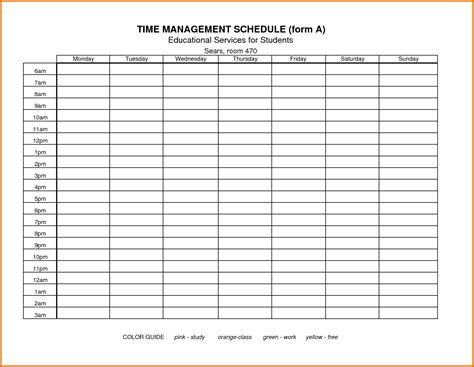 manager schedule template time management template vertola