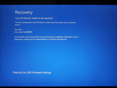 your pc device needs to be repaired error code 0xc0000098 microsoft community
